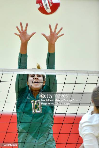 Mira Costa's Amanda Montag tries for a block in Redondo Beach on Thursday October 6 2016 Bay League girls volleyball rivalry game Mira Costa...