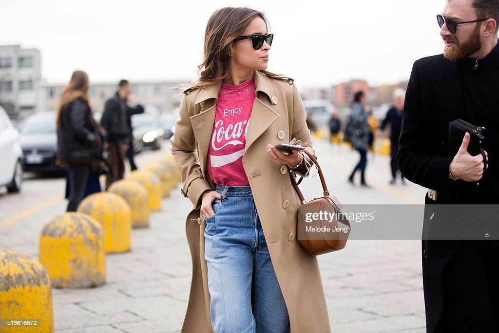 2b34b06c33b Street Style  February 24 - Milan Fashion Week Fall Winter 2016 17. Mira  Duma wears black RayBan ...