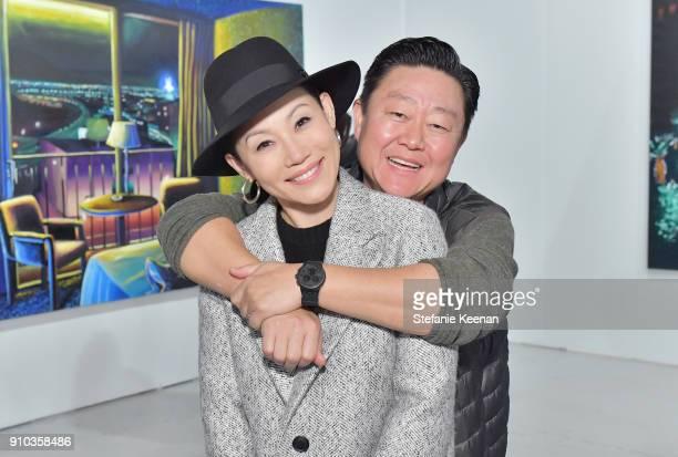 Mira Lee and Brian Lee at OPENING NIGHT   ART LOS ANGELES CONTEMPORARY 9TH EDITION at Barkar Hangar on January 25 2018 in Santa Monica California