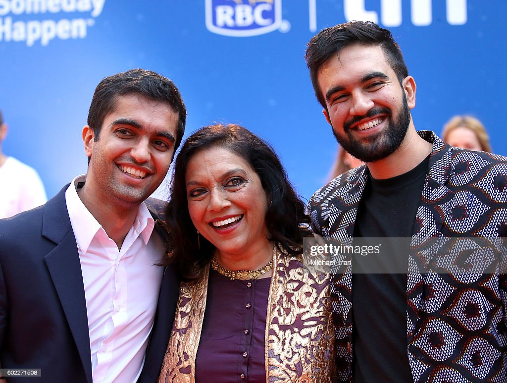 Mira Nair (C) and her sons, arrive at the 2016 Toronto International Film Festival - 'Queen Of Katwe' premiere held at Roy Thomson Hall on September 10, 2016 in Toronto, Canada.
