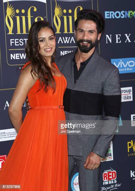 Mira Rajput and actor Shahid Kapoor attend the 2017 International Indian Film Academy Festival at MetLife Stadium on July 14 2017 in East Rutherford...