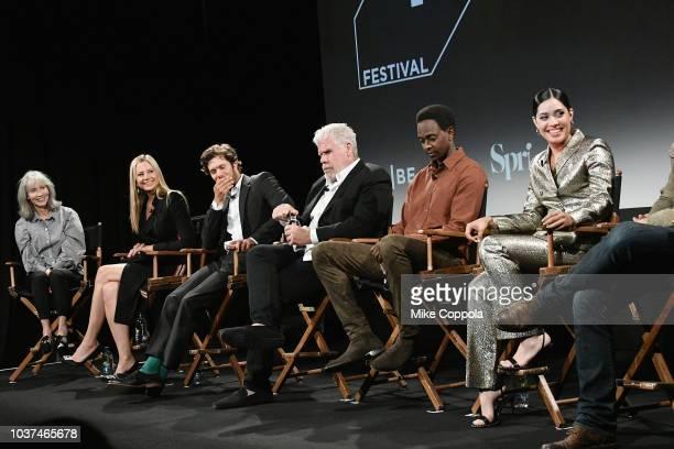 Mira Sorvino Adam Brody Ron Perlman Edi Gathegi and Otmara Marrero speak onstage at the 'Startup' Season 3 Premiere for the Tribeca TV Festival at...