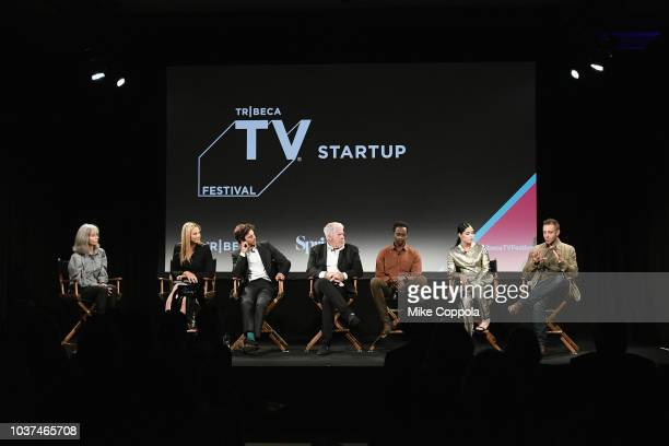 Mira Sorvino Adam Brody Ron Perlman Edi Gathegi Otmara Marrero and Ben Ketai speak onstage at the 'Startup' Season 3 Premiere for the Tribeca TV...