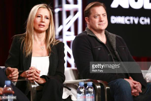 Mira Sorvino and Brendan Fraser of the television show 'Condor' speak onstage during the ATT AUDIENCE Network 2018 Winter TCA on January 11 2018 in...