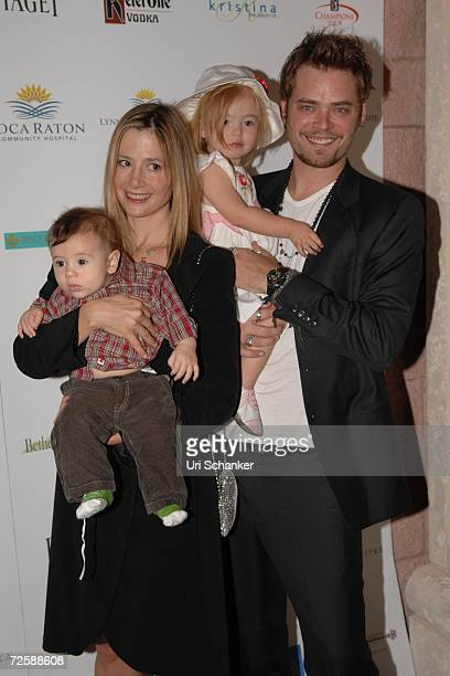 Mira Sorvino and husband Christopher Backus pose with their daughter Mattea Angel and son Johnny at the unveiling of Paul Sorvino's sculpture at the...