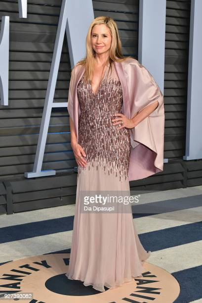 Mira Sorvino attends the 2018 Vanity Fair Oscar Party hosted by Radhika Jones at Wallis Annenberg Center for the Performing Arts on March 4 2018 in...