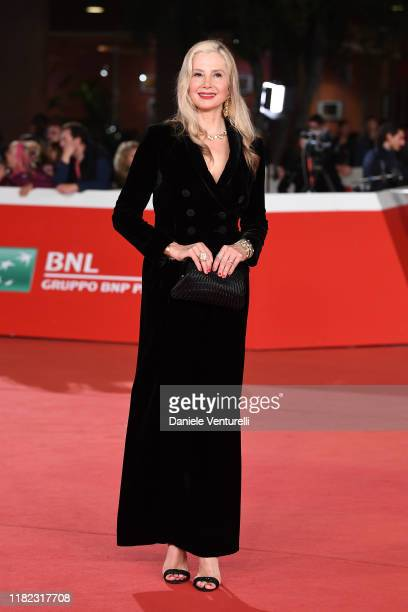 """Mira Sorvino attends the """"Drowning"""" red carpet during the 14th Rome Film Festival on October 20, 2019 in Rome, Italy."""