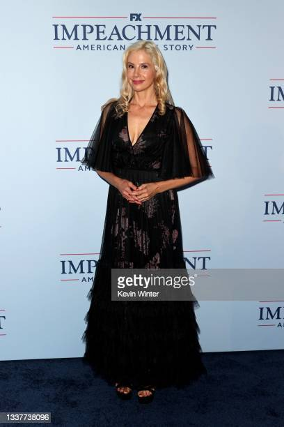 """Mira Sorvino attends the premiere of FX's """"Impeachment: American Crime Story"""" at Pacific Design Center on September 01, 2021 in West Hollywood,..."""