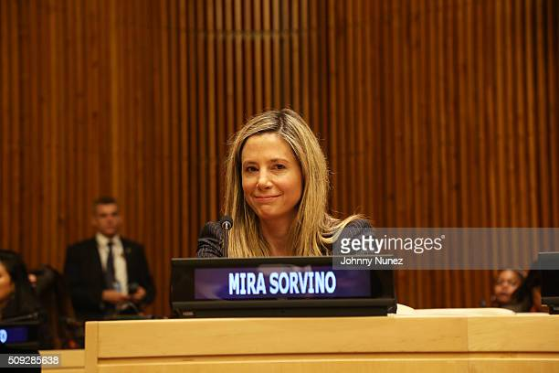Mira Sorvino attends the UNODC High Level Event On Human Trafficking at United Nations on February 9 in New York City