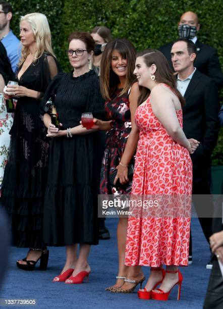 "Mira Sorvino, Monica Lewinsky, Beanie Feldstein attend the premiere of FX's ""Impeachment: American Crime Story"" at Pacific Design Center on September..."