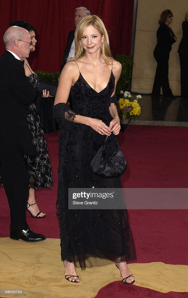 Mira Sorvino wearing Giorgio Armani during The 75th Annual Academy Awards - Arrivals at The Kodak Theater in Hollywood, California, United States.
