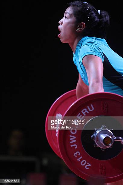 Mirabai Chanu Saikhom of India A competes in the Women's 48kg snatch during day one of the 2013 Junior Weightlifting World Championship at Maria...