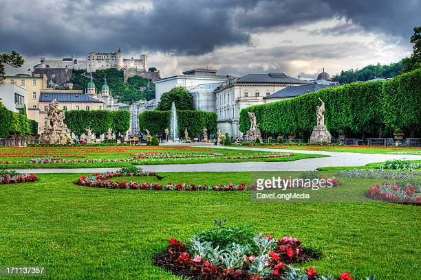 mirabell gardens in salzburg - salzburger land stock pictures, royalty-free photos & images