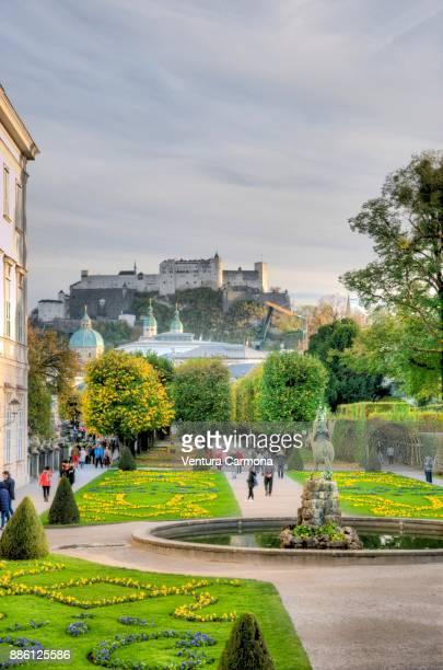 Mirabell Gardens, view to Hohensalzburg, Salzburg, Austria