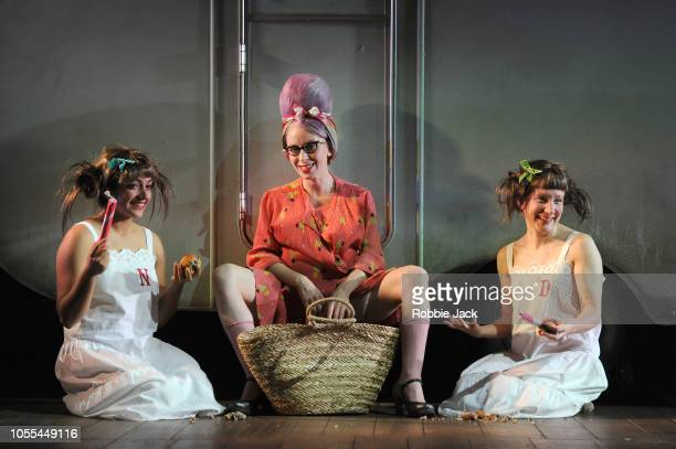 Mirabelle Gremaud as Young NoraKaty Owen as Grandma Chance and Bettrys Jones as Young Dora in Angela Carter's Wise Children directed by Emma Rice at...