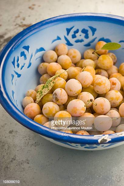 Mirabelle plums in bowl