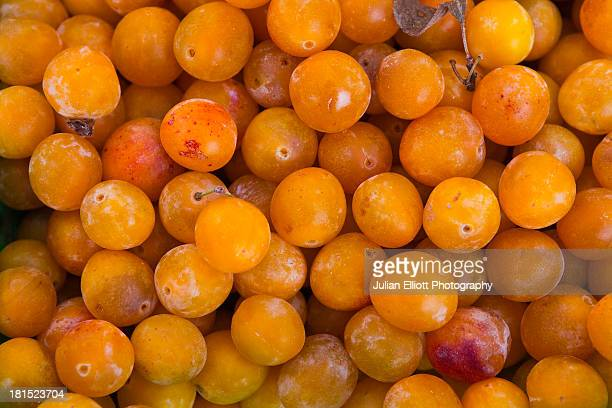 Mirabelle plums on sale at a market