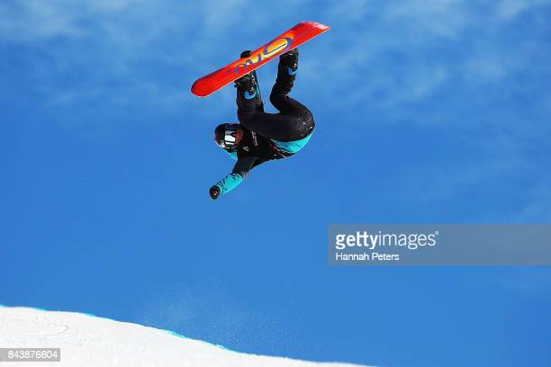Mirabelle Thovex of France competes during the Winter Games NZ FIS Women's Snowboard World Cup Halfpipe Finals at Cardrona Alpine Resort on September...