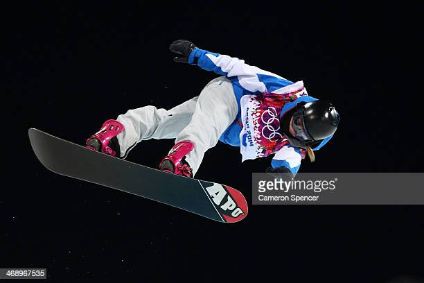 Mirabelle Thovex of France competes in the Snowboard Women's Halfpipe Finals on day five of the Sochi 2014 Winter Olympics at Rosa Khutor Extreme...