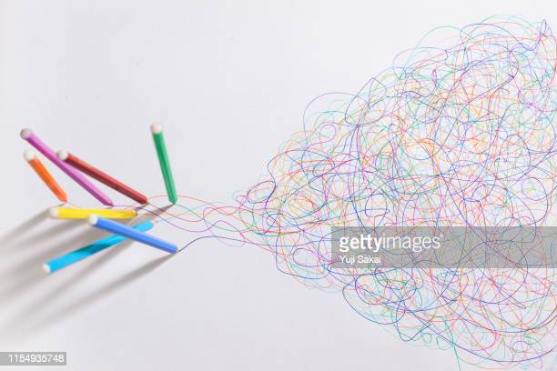 miracle color pencil  drwing free line - community spirit stock pictures, royalty-free photos & images