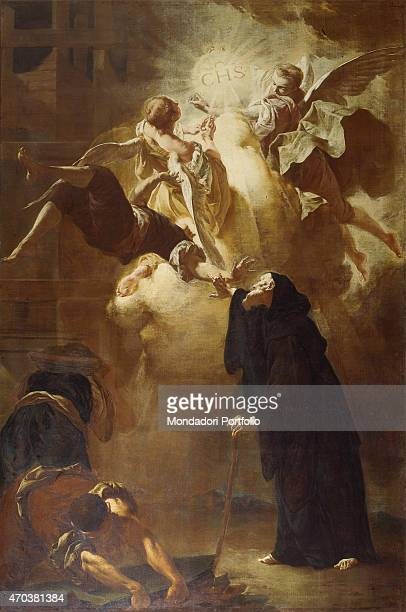 Miracle of St Francis of Paola by Francesco Capella 18th century oil on canvas Italy Tuscany Cortona Diocesan Museum Whole artwork view The holy man...