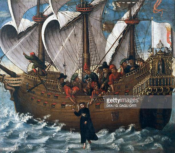 Miracle of St Francis Xavier aboard the ship Santa Cruz enroute to Macau and Japan, 17th-century, Spanish painting. ; Lisbon, Museu De Marinha .