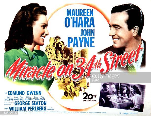 Miracle On 34th Street, poster, Maureen O'Hara, John Payne, Edmund Gwenn, Natalie Wood, 1947.