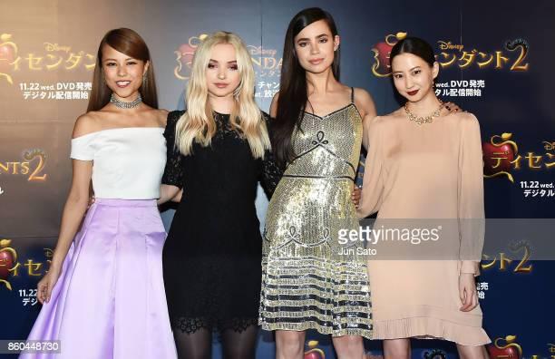 Miracle Velle Magic Dove Cameron Sofia Carson and Mayuko Kawakita attend the Disney Channel's 'Descendants 2' Premiere at Toranomon Hills on October...