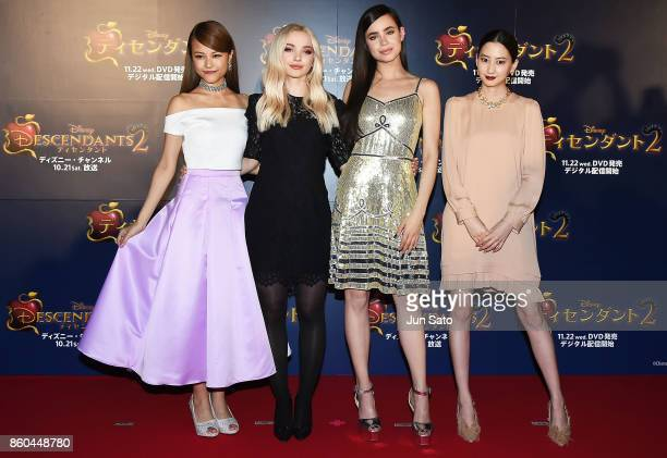 Miracle Velle Magic Dove Cameron Sofia Carson and Mayuko Kawakita attend the Disney Channel's 'Descendants 2' Premiere at Toranomon Hills on October...