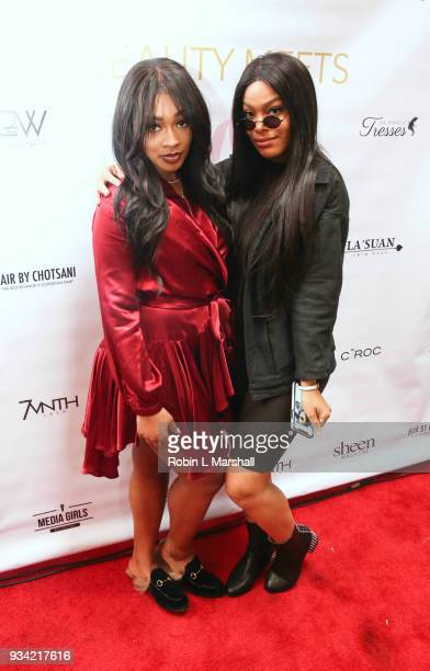 Miracle Watts and Meghan James attend 'Beauty Meets Media' event at Pamplona 89 on March 18 2018 in Los Angeles California