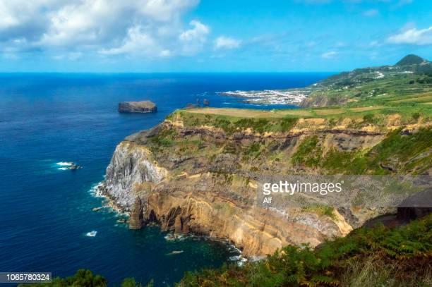 miradouro do escalvado on the island of san miguel, azores, portugal - ponta delgada stock photos and pictures