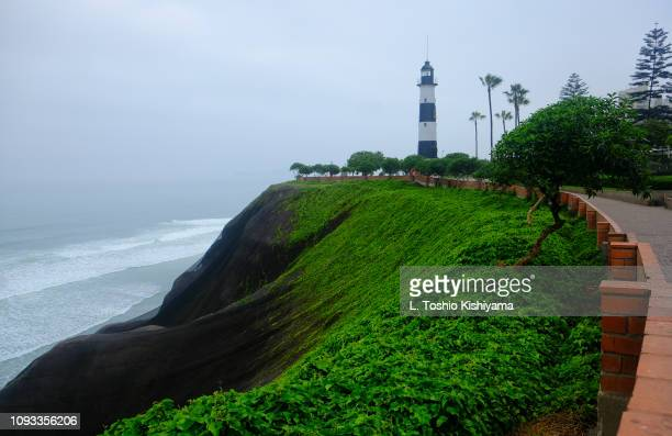 miraflores cliffs in lima, peru. - lima peru stock pictures, royalty-free photos & images