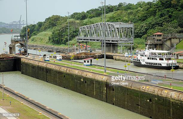Miraflores Locks, part of the Panama Canal, leading to Port of Balboa and the Pacific Ocean.