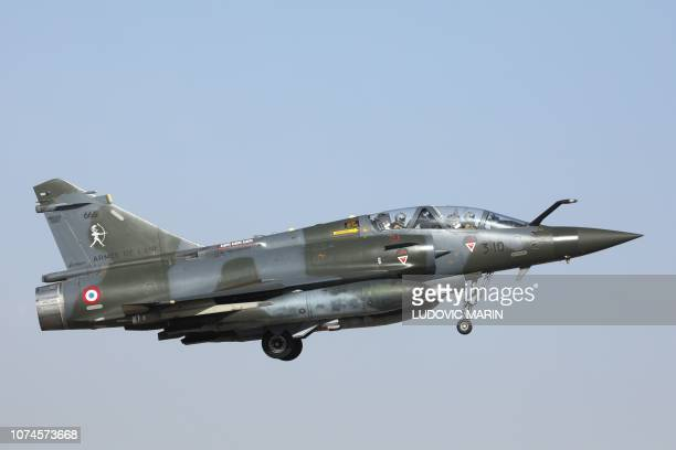 A Mirage 2000 aircraft of the French Air Force takes off from an airbase in N'Djamena on December 22 to take part in a Barkhane mission in Africa's...