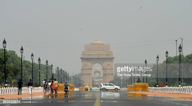 A mirage gives the illusion of water near India Gate in New Delhi