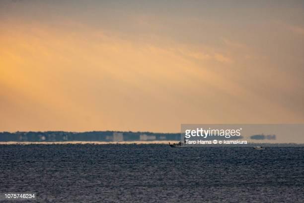 Mirage of Miura Peninsula and morning sunbeam on Kamakura and Yokosuka cities and Sagami Bay in Kanagawa prefecture in Japan