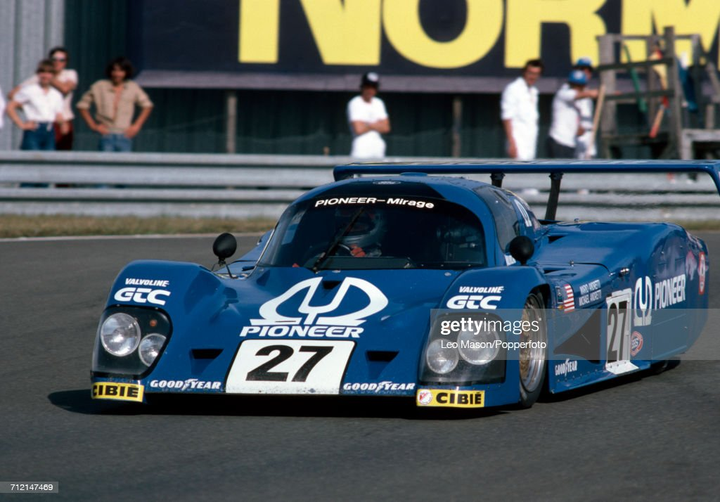 A Mirage-Cosworth M12, driven by Mario and Michael Andretti of the United States for Grand Touring Cars Inc, in a practice session prior to the start of the FIA World Challenge for Endurance Drivers 24 Hours of Le Mans race on 18th June 1982 at the Circuit de la Sarthe, Le Mans, France. The pair were disqualified and did not start.
