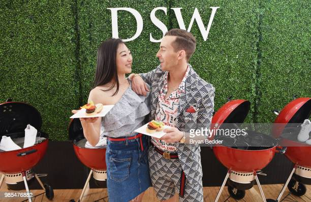 Mirai Nagasu and Adam Rippon attend DSW Block Party hosted by Olympians Adam Rippon and Mirai Nagasu on June 27 2018 at Ramscale Studio in New York...