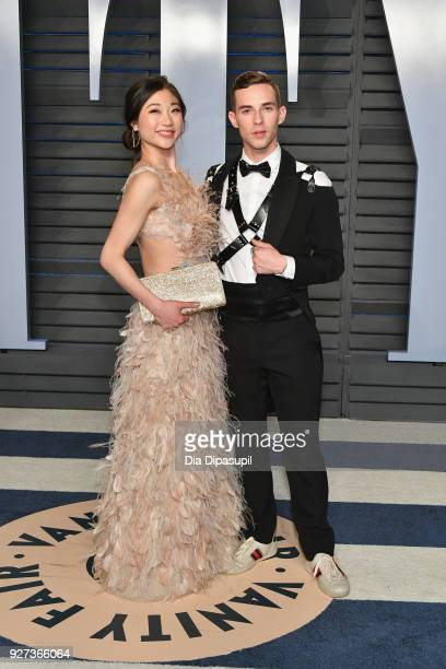 Mirai Nagasu and Adam Rippon attend the 2018 Vanity Fair Oscar Party hosted by Radhika Jones at Wallis Annenberg Center for the Performing Arts on...