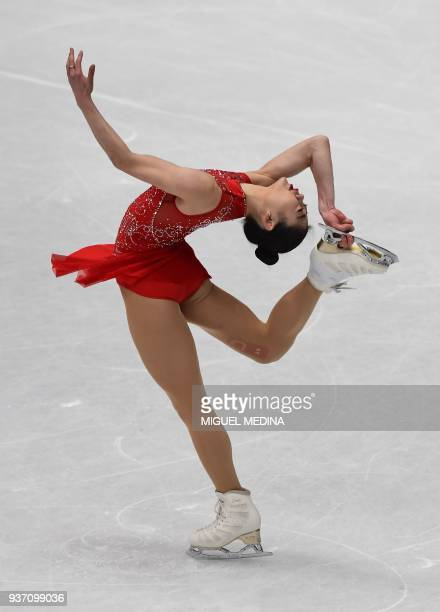 Mirai Nagasu from the United States of America performs on March 23 2018 during the LadiesFree Skate program at the Milan World Figure Skating...