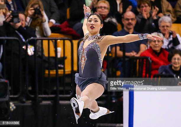 Mirai Nagasu of the United States competes during Day 4 of the ISU World Figure Skating Championships 2016 at TD Garden on March 31 2016 in Boston...