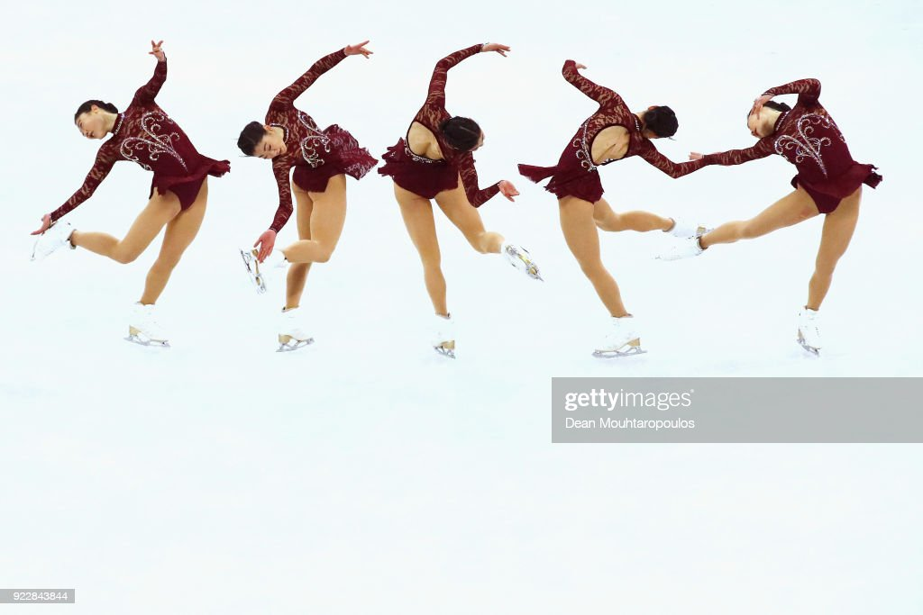 Mirai Nagasu of the United States competes during the Ladies Single Skating Short Program on day twelve of the PyeongChang 2018 Winter Olympic Games at Gangneung Ice Arena on February 21, 2018 in Gangneung, South Korea.