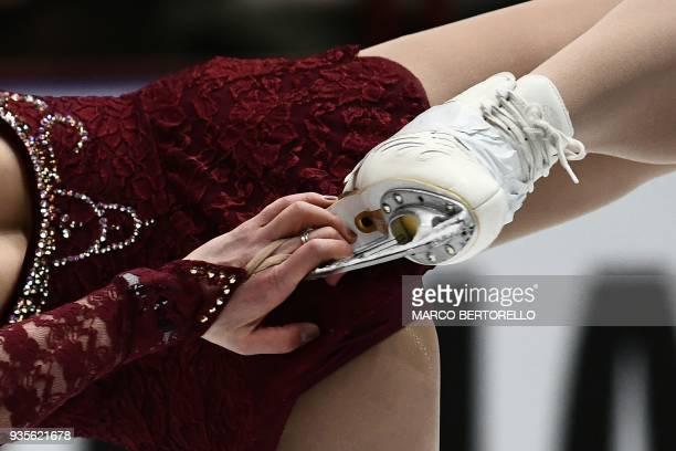 US' Mirai Nagasu performs on March 21 2018 in Milan during the Ladies figure skating short program at the Milano World League Figure Championship...