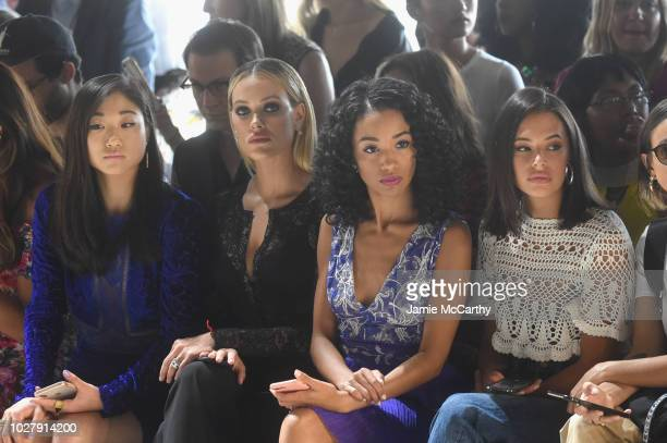 Mirai Nagasu Petra Murgarroyd Erinn Westbrook and Chloe Bridges attend the Tadashi Shoji front row during New York Fashion Week The Shows at Gallery...