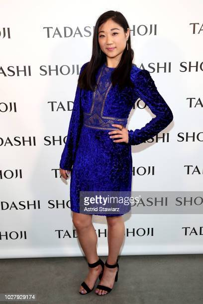 Mirai Nagasu poses backstage for the Tadashi Shoji show during New York Fashion Week The Shows at Gallery I at Spring Studios on September 6 2018 in...