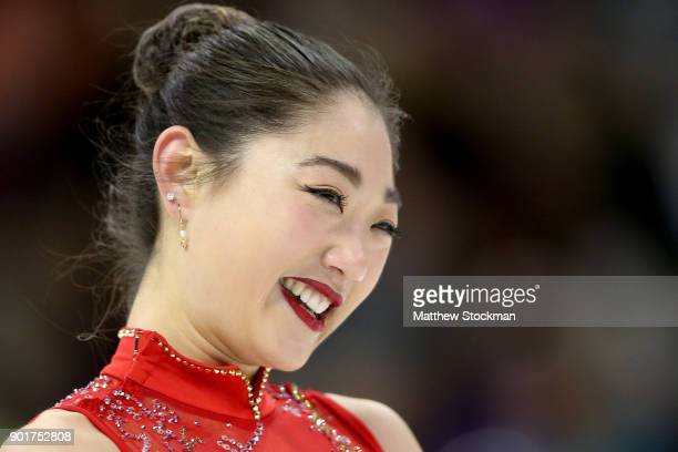 Mirai Nagasu reacts at the end of her program in the Ladies Free Skate during the 2018 Prudential US Figure Skating Championships at the SAP Center...