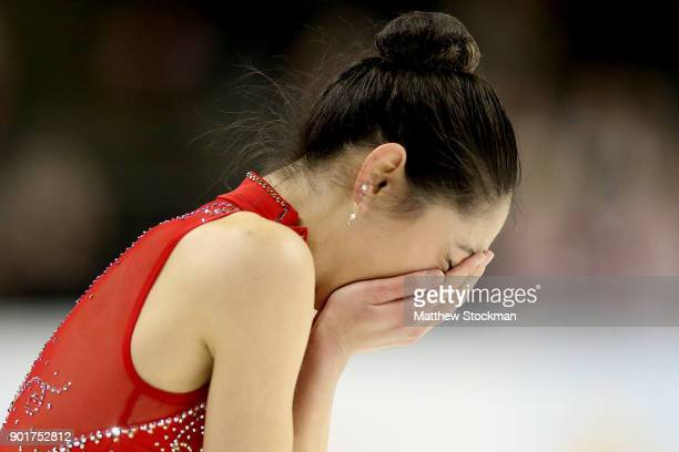 Mirai Nagasu reacts at the end of her program in the Ladies Free Skate during the 2018 Prudential U.S. Figure Skating Championships at the SAP Center...