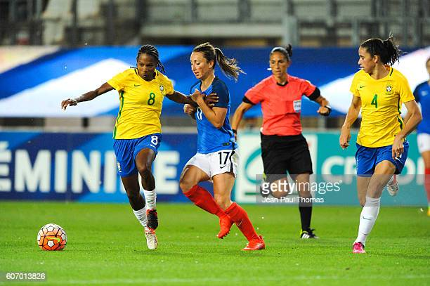 Miraildes MOTA of Brazil and Gaetane THINEY of France during the International friendly match between France women and Brazil women on September 16...