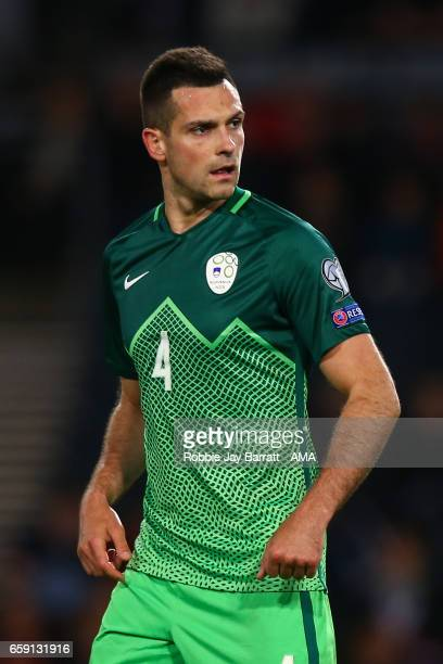 Miral Samardzic of Slovenia during the FIFA 2018 World Cup Qualifier between Scotland and Slovenia at Hampden Park on March 26 2017 in Glasgow...