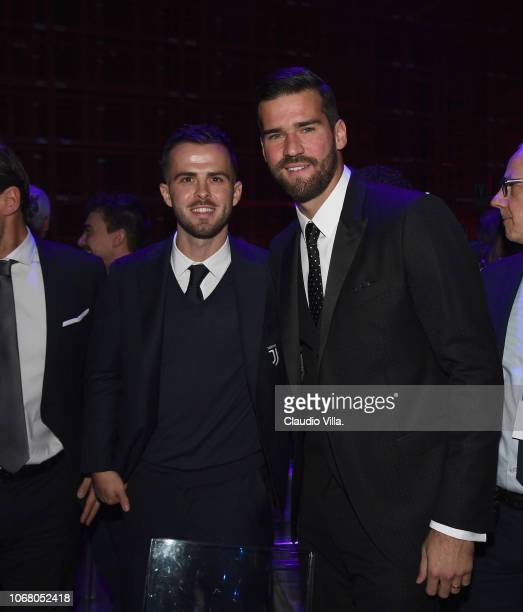 Miralem Pjanic and Alisson Ramses Becker attend the Gran Gala Del Calcio 2018 on December 3 2018 in Milan Italy